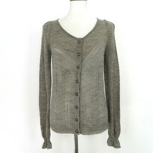 Knitted & Knotted Silver Pointelle Lace Cardigan